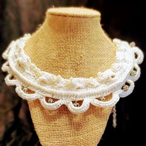 Jewelry - Hand Crafted Bridal Lace and Faux Pearl Necklace